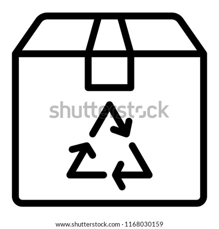 Recycle sign on a box line icon. Eco package vector illustration isolated on white. Carton box with recycle sign outline style design, designed for web and app. Eps 10.