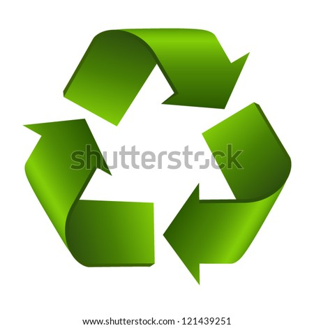 Recycle sign or symbol isolated on white background. Stylized icon