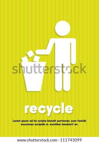 recycle sign over green background. vector illustration