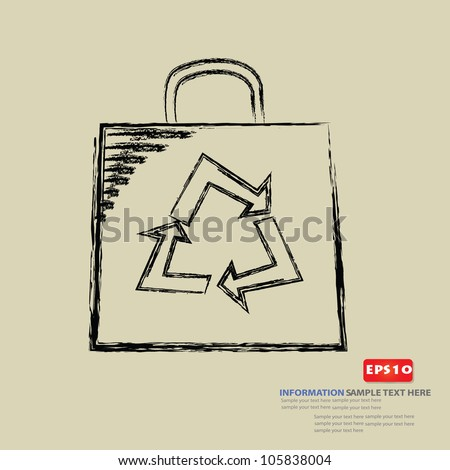 Recycle sign,paper bag ,Vector