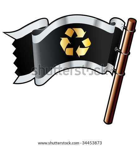 Recycle symbol icon on black, silver, and gold vector flag