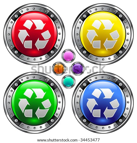 Recycle symbol icon on round colorful vector buttons