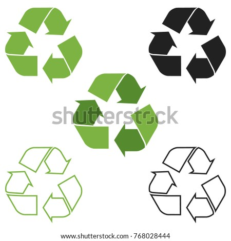 Recycle symbol icon set of 5 variants. Vector.
