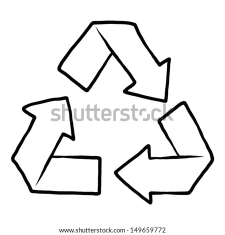 recycle symbol in black and white, hand drawn / cartoon vector and illustration.