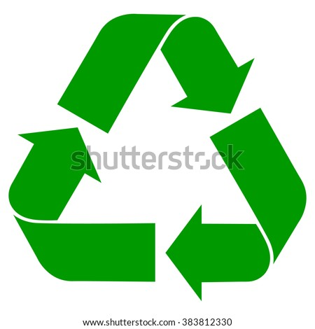 Recycle symbol , isolated green icon , accurate vector illustration