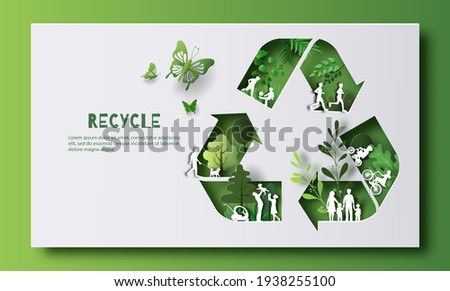 Recycle Symbol, many people doing activities, enjoy their life in a good atmosphere, save the planet and energy concept, paper illustration, and 3d paper.