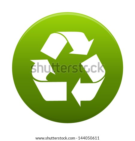Recycle symbol or sign of conservation inside a green circle  icon isolated on white background. Vector  symbol on the packaging.