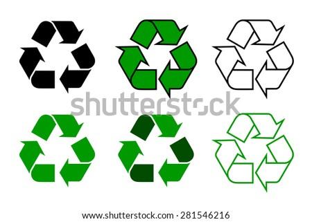Set Of Vector Recycle Symbols Download Free Vector Art Stock