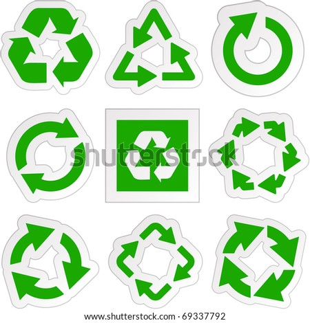 Recycle symbol - round arrow set. Rotate circle signs. Green vector collection.