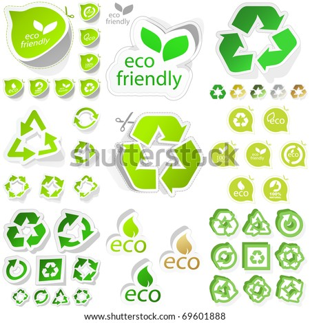 Recycle symbol. Save energy icon. Green eco stickers. Protect the environment illustration.