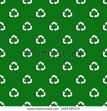 Recycle symbol seamless pattern. Ecology texture. Vector illustration.