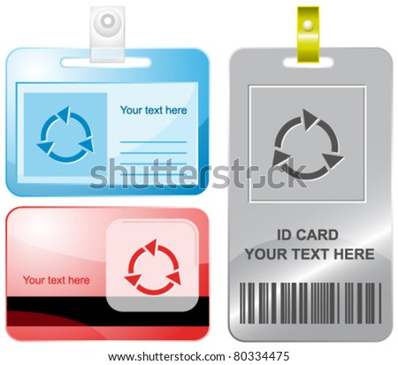 Recycle symbol. Vector id cards. - stock vector