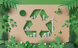 Recycle Symbol with many building and green leaves, save the planet and energy concept, paper illustration, and 3d paper.