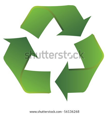 Recycle symbol with slight curvatures to show a smooth transition from use to reuse.