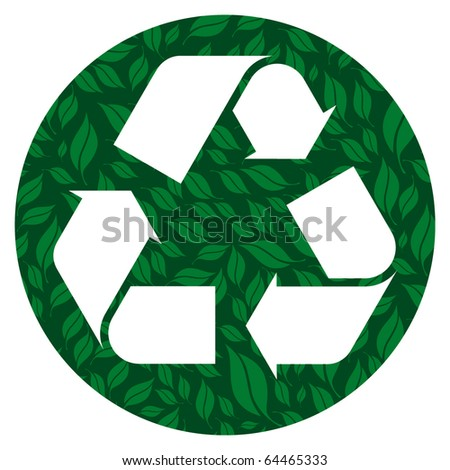 Recycle symbols made by foliage.