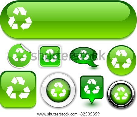 Recycle vector glossy icons. - stock vector
