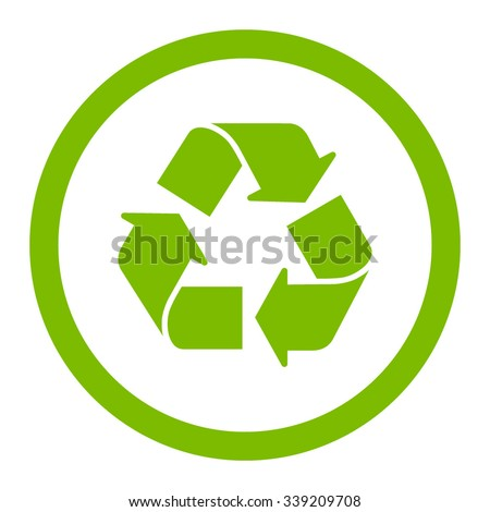 Recycle vector icon. Style is flat rounded symbol, eco green color, rounded angles, white background.