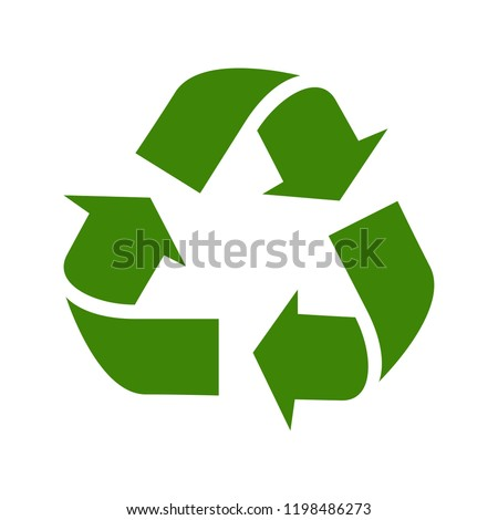 Recycle vector icon. Style is flat symbol, gray color, rounded angles, white background