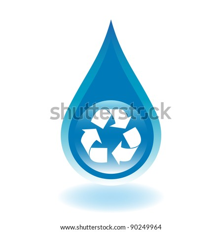 Recycle water droplet. Water conservation concept.)