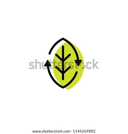 recycled organic recycle leaf eco logo icon line outline monoline color fill style
