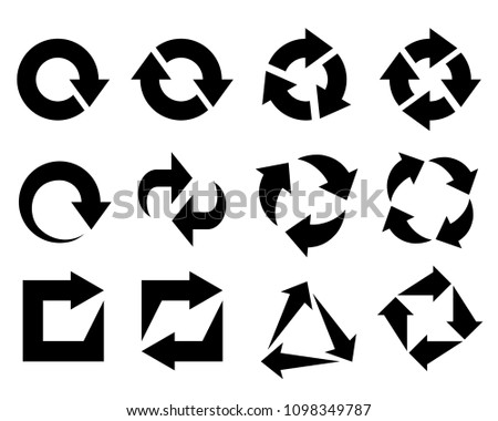 Recycled set black symbols isolated on white background. Icon recycled element for website, app or infographics. Sign flat design vector illustration #1098349787