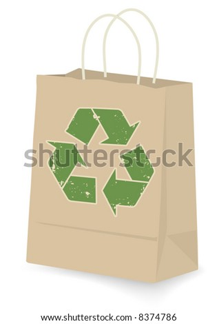 Recycled Shopping Bag: Kraft shopping bag with green recycle logo