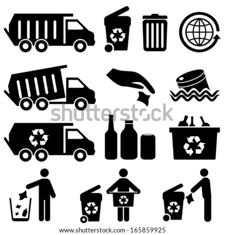 Recycling and trash icons for clean environment