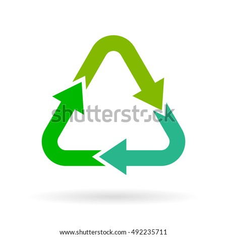 Recycling arrows symbol vector illustration isolated on white background. Recycle icon. Recycle vector icon.