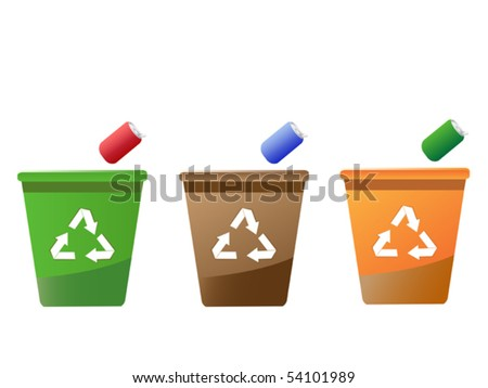 recycling bins - stock vector