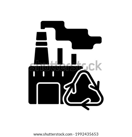 Recycling black glyph icon. Converting waste materials into new objects. Recovery and reprocessing. Environment protection. Silhouette symbol on white space. Vector isolated illustration Foto stock ©