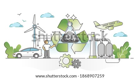 Recycling carbon dioxide and renewable methanol alternative outline concept. Ecological CO2 consumption for fiber technology production vector illustration. Nature friendly and clean fuel substitute.