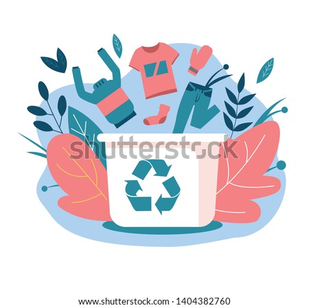 Recycling clothes. Hand over your old clothes for recycling. Clothing falls into a container with a recycling symbol. Flat vector illustrations