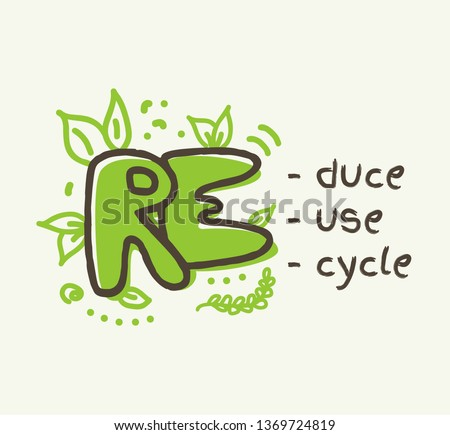 Recycling concept with 3R text, reduce, reuse , recycle lettering. Doodle vector illustration Foto stock ©