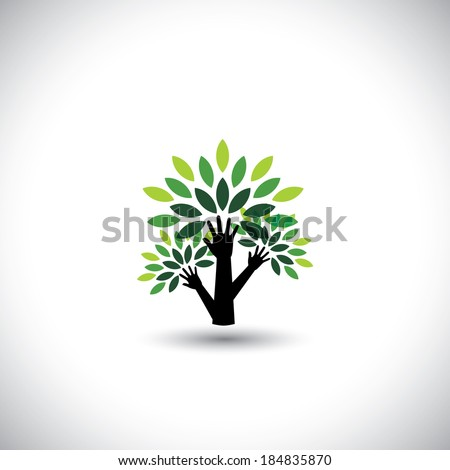 recycling, eco tree hand with leaves, helping nature - concept vector. The graphic also represents nature conservation, preserving ecological balance, sustainable living, biosphere protection