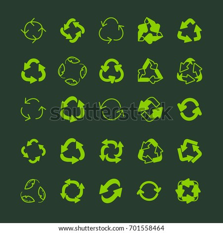 Recycling ecology thin line vector icon set. Protection of the environment and nature linear sign. Ecological symbols for infographic, website or app.