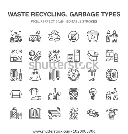 recycling flat line icons