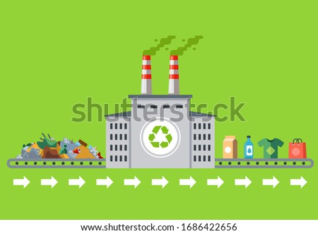 recycling garbage into new products. white plant with pipes. flat vector illustration. Сток-фото ©