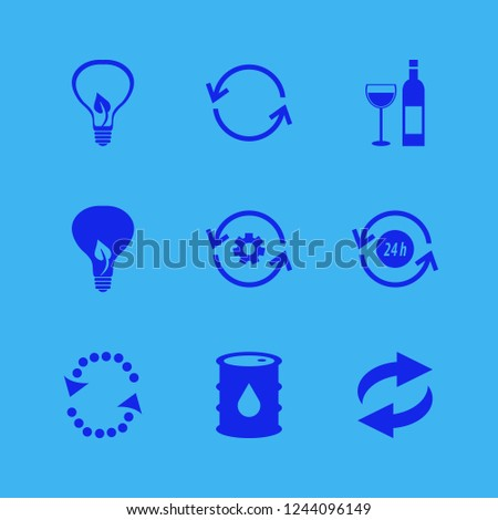 recycling icon. recycling vector icons set oil barrel, bulb leaf, bottle glass and recycle hours