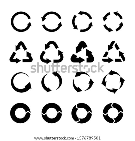 Recycling icons. Black circle arrows environmental labels. Bio garbage, biodegradable waste and reuse trash, ecology pictograms isolated vector logo of recycleable product set