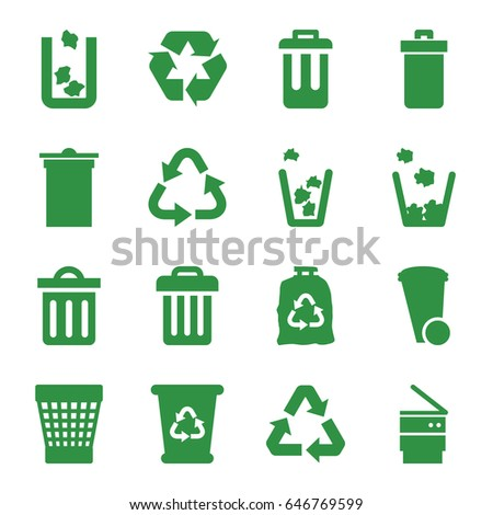 Recycling icons set. set of 16 recycling filled icons such as trash bin, recycle bin, recycle