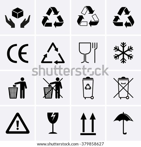 Recycling Icons. Waste Recycling. Packaging Symbols.