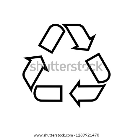 Recycling line icon. Symbol for recyclable products or those made of recycled materials. Classical triangle shape. Vector Illustration