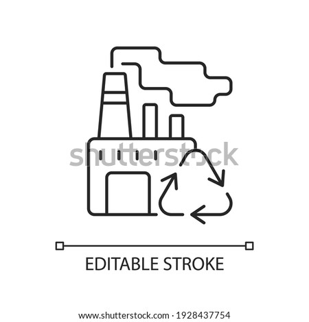 Recycling linear icon. Converting waste materials into new objects. Recovery and reprocessing. Thin line customizable illustration. Contour symbol. Vector isolated outline drawing. Editable stroke Foto stock ©