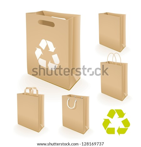 Recycling paper bag. Illustration set of recycled paper bags that do not cause harm to the environment with recycling sign.