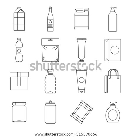 Recycling plastic bag items icons set. Line illustration of 16 recycling plastic bag items vector icons isolated on white background