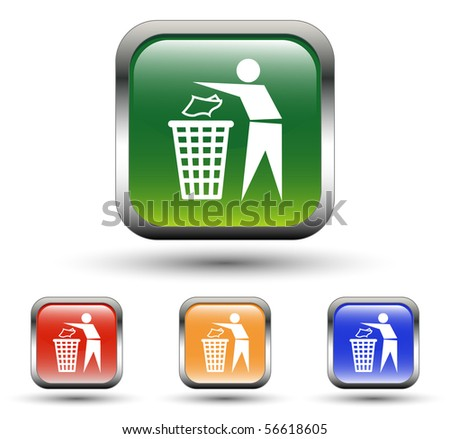Recycling Sign Square Icons