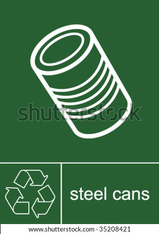 Recycling Sign Steel Cans