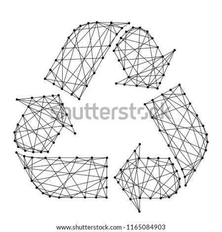 Recycling sign with three arrows from futuristic polygonal black lines and dots. Vector illustration.