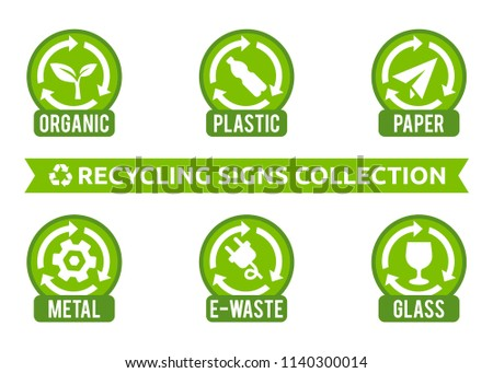 Recycling signs collection. Vector signs collection for different types of waste: organic, plastic, e-waste, glass, metal. Isolated recycling icons. Set of stickers for garbage containers.