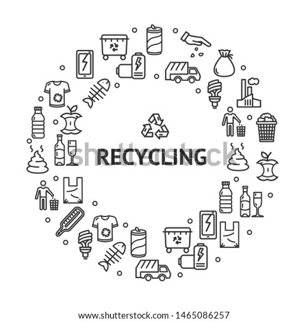 Recycling Signs Round Design Template Thin Line Icon Concept Frame or Border for Text Ad. Vector illustration